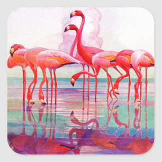 Pink Flamingos by Francis Lee Jaques Square Sticker