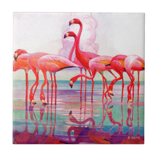 Pink Flamingos by Francis Lee Jaques Tile