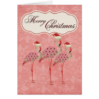 Pink Flamingos Christmas Card
