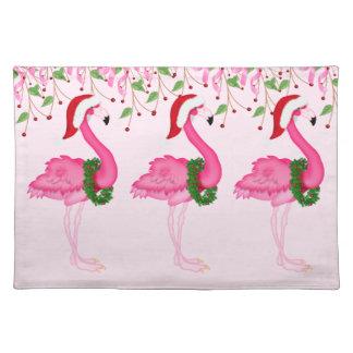 Pink Flamingos Christmas Placemat