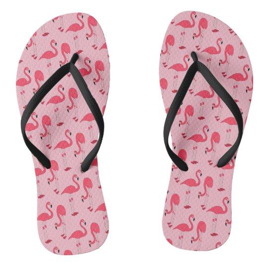 Pink Flamingos Fantasy Print Flip Flops