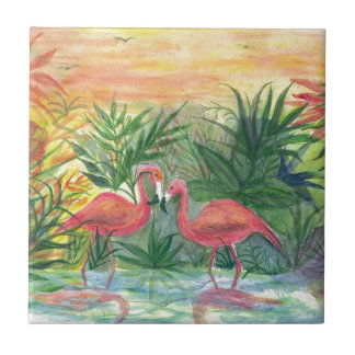 Pink Flamingos Florida Art Tile