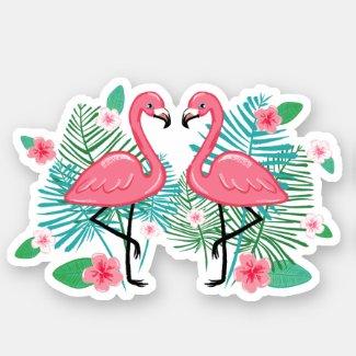 Pink Flamingos & Flowers