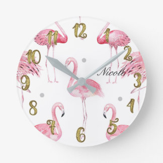 Pink Flamingos Grey Polka Dots Chic Minimal Custom Round Clock