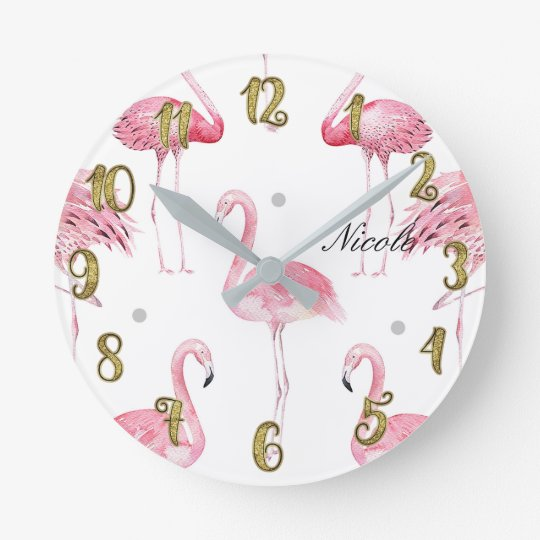 Pink Flamingos Grey Polka Dots Chic Minimal Custom