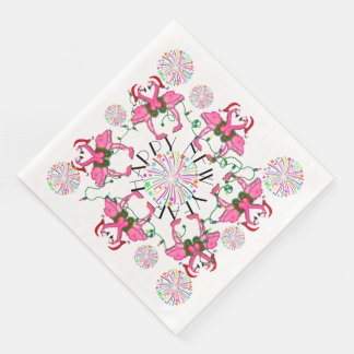Pink Flamingos Happy New Year Party Goods Napkins Disposable Serviette