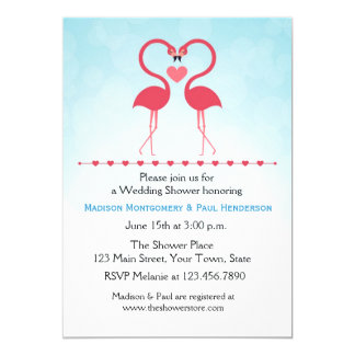 Pink Flamingos, Heart, Couple Bridal Shower Card