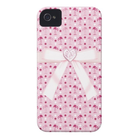 Pink Flamingos & Heart Jewel iPhone 4/4S Case