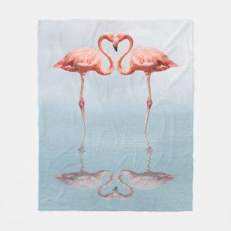 Pink Flamingos in Love Fleece Blanket