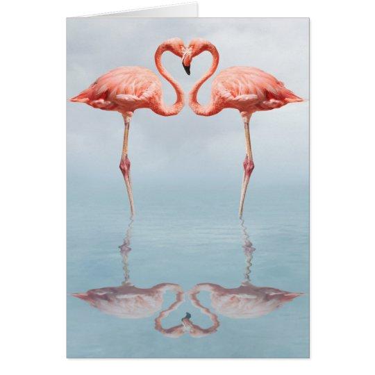 Pink Flamingos in Love Greeting Card