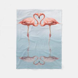 Pink Flamingos in Love Small Fleece Blanket