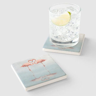 Pink Flamingos in Love Stone Coaster