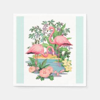 Pink Flamingos in Paradise Paper Napkins