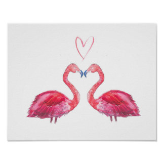 Pink flamingos love heart watercolour poster