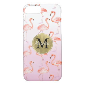 Pink Flamingos monogram iPhone 8/7 Case