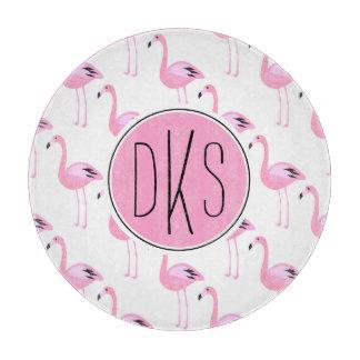 Pink Flamingos | Monogram Cutting Board