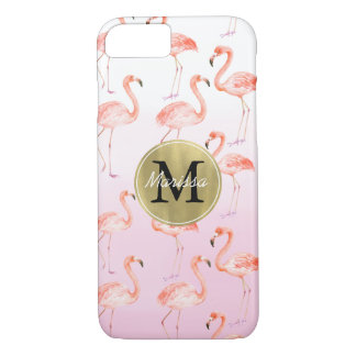 Pink Flamingos monogram iPhone 8/7 Case