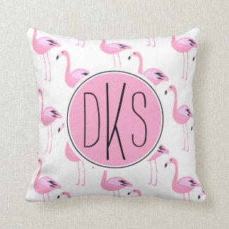 Pink Flamingos   Monogram Throw Pillow