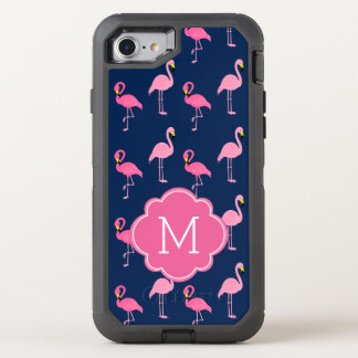 Pink Flamingos Monogrammed OtterBox Defender iPhone 8/7 Case