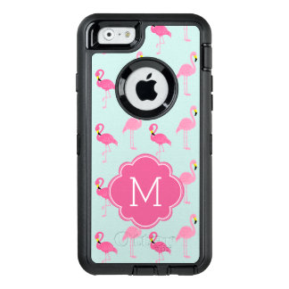 Pink Flamingos Monogrammed OtterBox Defender iPhone Case