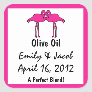 Pink Flamingos Olive Oil Favor Tags Square Sticker
