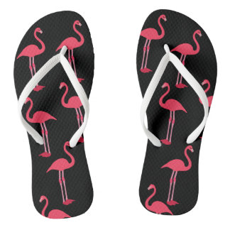 Pink Flamingos on Black Flip Flops