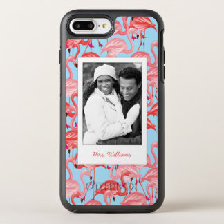 Pink Flamingos On Blue | Add Your Photo & Name OtterBox Symmetry iPhone 7 Plus Case