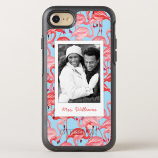 Pink Flamingos On Blue | Add Your Photo & Name OtterBox Symmetry iPhone 8/7 Case