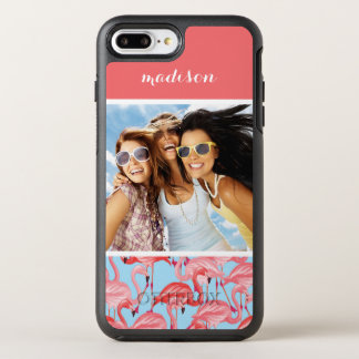 Pink Flamingos On Blue | Add Your Photo & Name OtterBox Symmetry iPhone 8 Plus/7 Plus Case