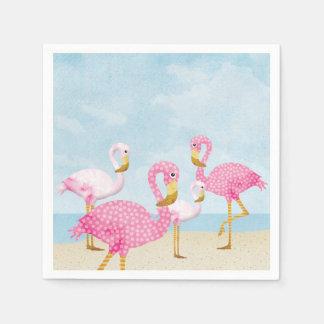 Pink Flamingos on the Beach Disposable Napkins