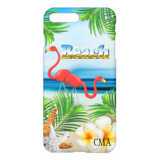 Pink Flamingos on the Beach | Monogram iPhone 8 Plus/7 Plus Case