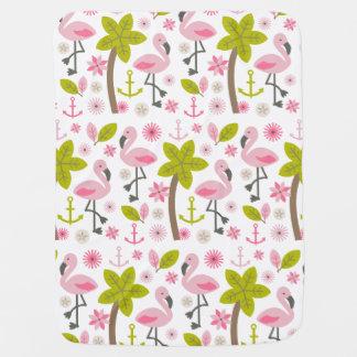 Pink Flamingos + Palm Trees Baby Blanket