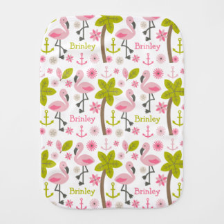 Pink Flamingos Personalized Burp Cloth