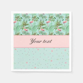 Pink Flamingos Polka Dots Paper Serviettes