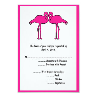 Pink Flamingos Reply Cards with Menu Options 9 Cm X 13 Cm Invitation Card