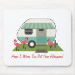 Pink Flamingos & Retro Camper Mousepad