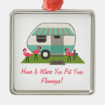 Pink Flamingos & Retro Camper / Trailer Ornament