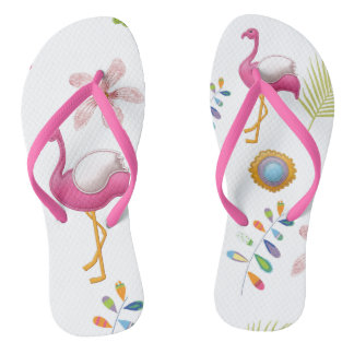 Pink Flamingos Summer Fun Flip Flops