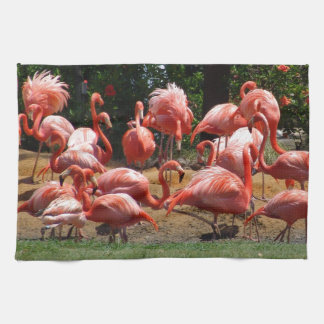Pink Flamingos Tea Towel
