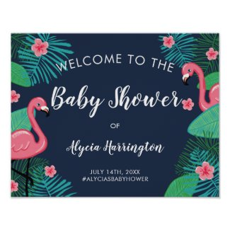 Pink Flamingos Tropical Baby Shower Welcome Poster