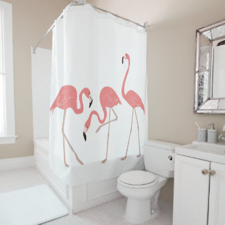 Pink Flamingos Tropical Birds Shower Curtain