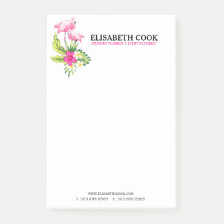 Pink Flamingos & Tropical Flowers Bouquet Post-it Notes