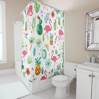 Pink Flamingos & Tropical Flowers Pattern Shower Curtain