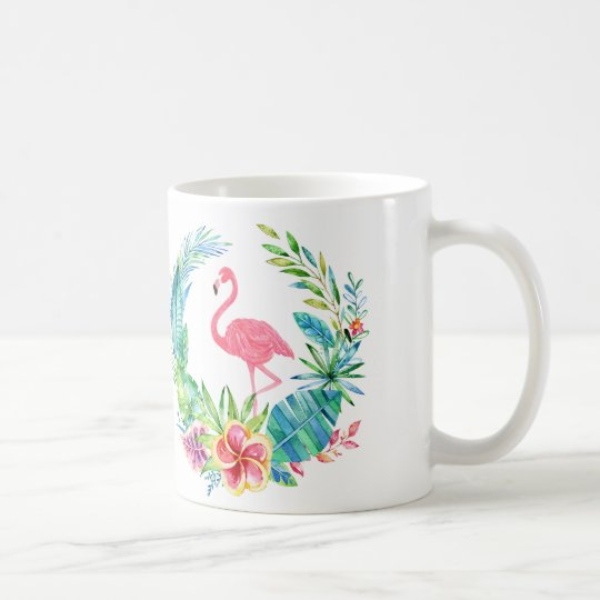 Pink Flamingos & Tropical Flowers Wreath Coffee Mug