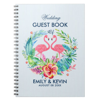Pink Flamingos & Tropical Flowers Wreath Spiral Notebooks