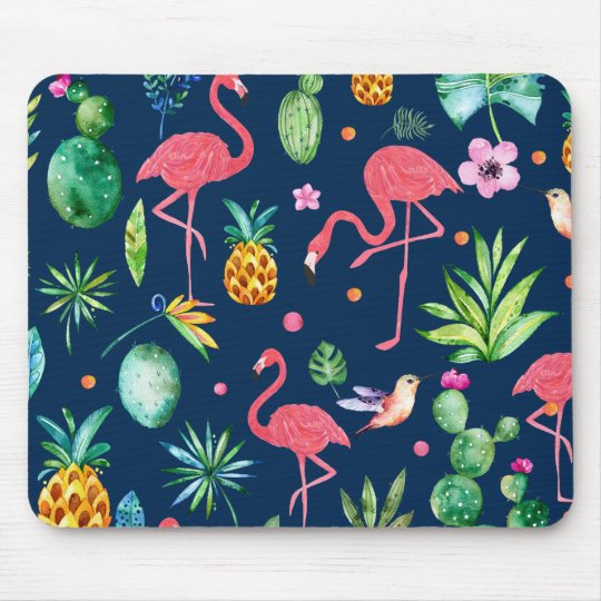 Pink Flamingos & Tropical Leafs & Flowers Pattern