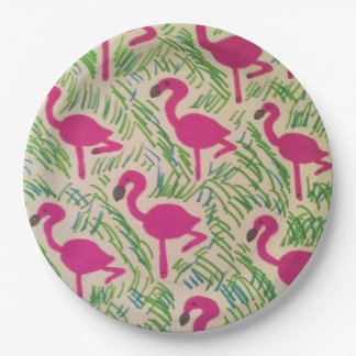 Pink Flamingos Tropical Pattern Paper Plates