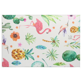 Pink Flamingos Tropical Seamless Pattern Fabric