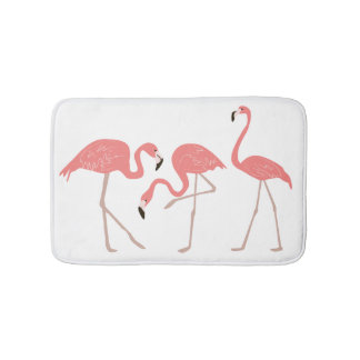 Pink Flamingos Tropical Whimsy Bath Mat