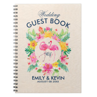 Pink Flamingos Tropical Wreath Wedding Guestbook Notebook
